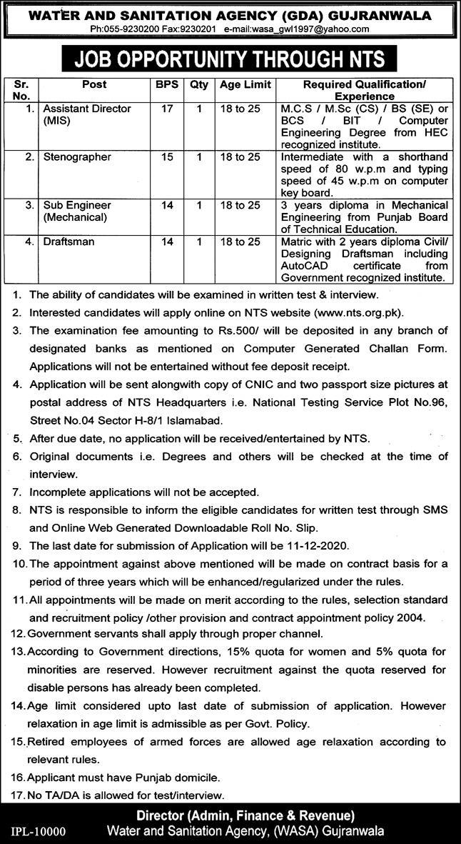 WASA NTS Jobs 2020 - Water and Sanitation Agency Gujranwala