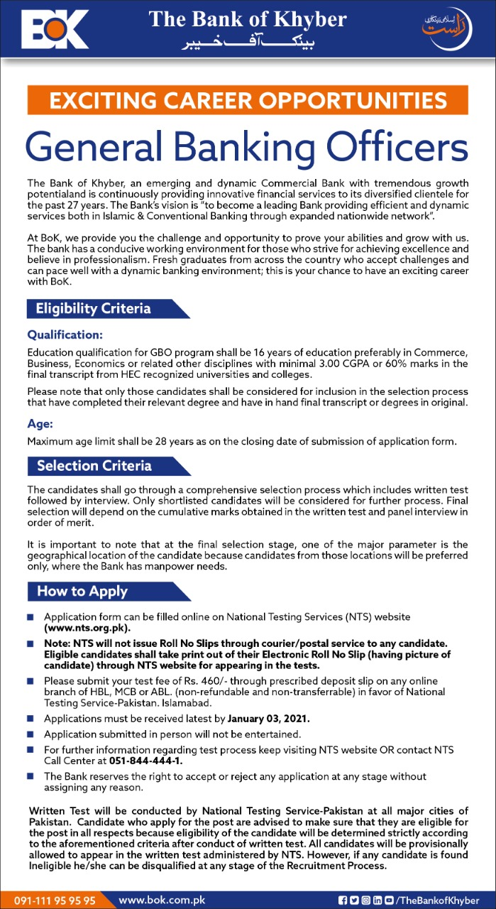 Bank of Khyber NTS Jobs 2021 - General Banking Officer (BOK)