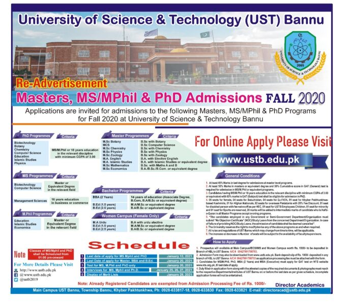 NTS Admission Test 2021 - University of Science & Technology Bannu KPK