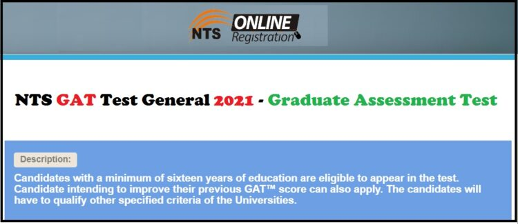 NTS GAT Test General 2021 - Graduate Assessment Test