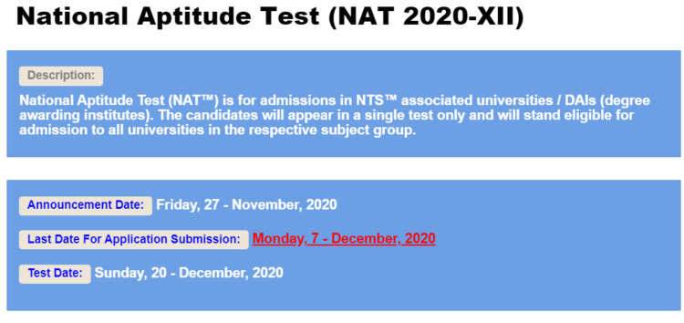 NTS National Aptitude Test (NAT) 2020-XII For Admission in Universities