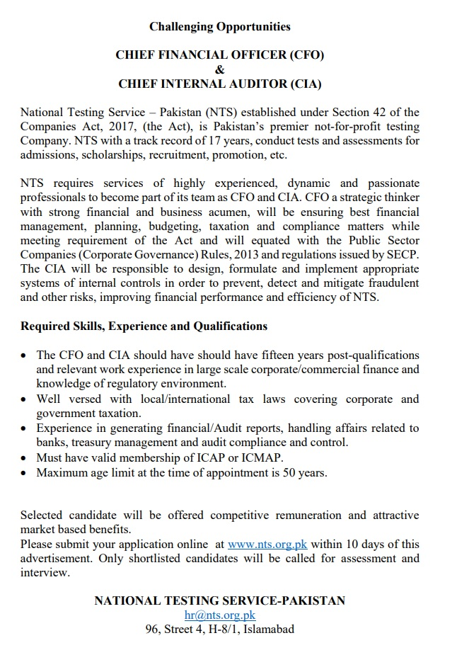 NTS Jobs For Chief Financial Officer (CFO) & Chief Internal Auditor (CIA) 2021