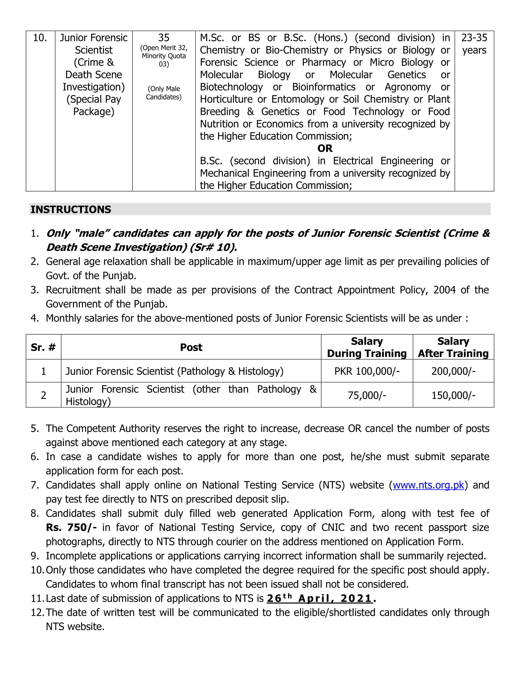How To Apply For Punjab Forensic Science Agency (PFSA) Jobs 2021