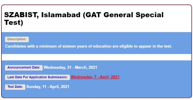 SZABIST Islamabad NTS GAT General Special Test 2021