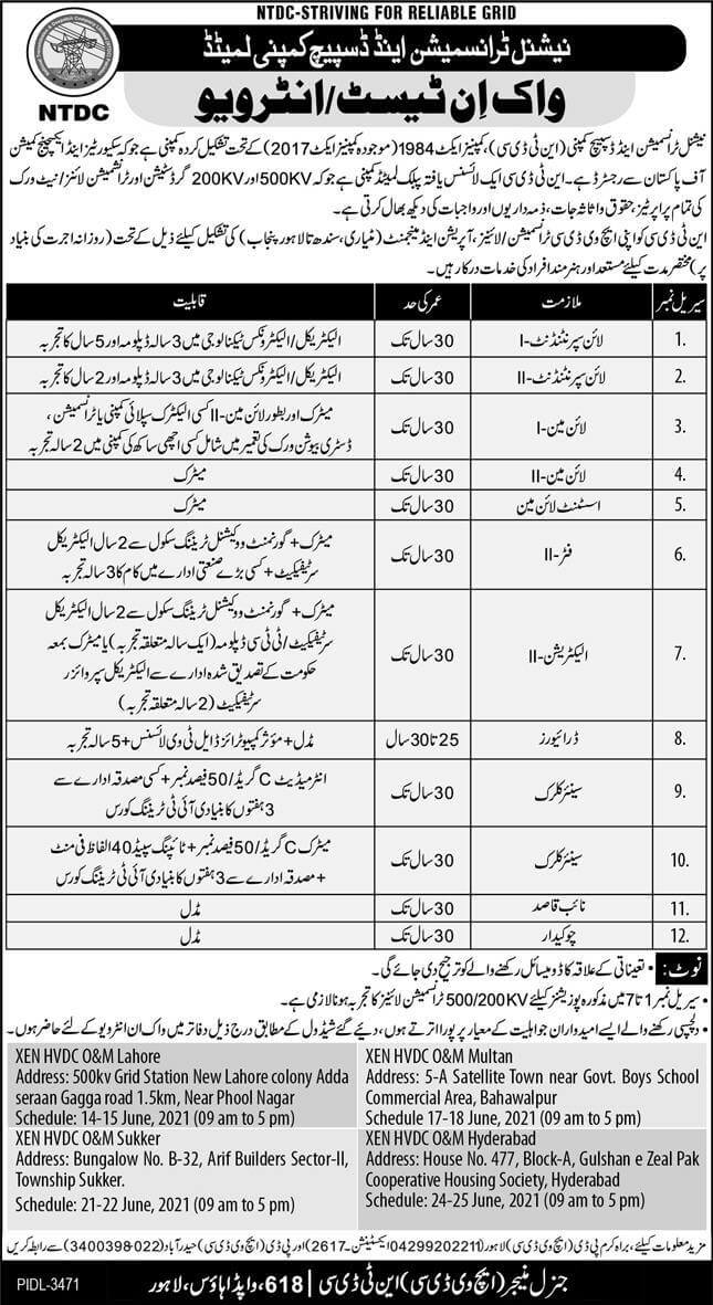NTDC Jobs 2021 National Transmission and Despatch Company